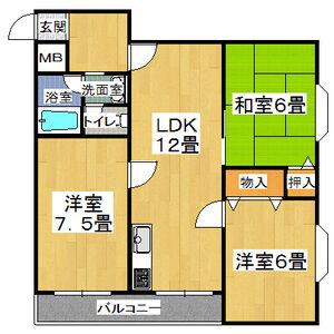 3LDK Mansion in Tatsuminaka - Osaka-shi Ikuno-ku Floorplan