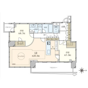 2LDK {building type} in Toyosu - Koto-ku Floorplan