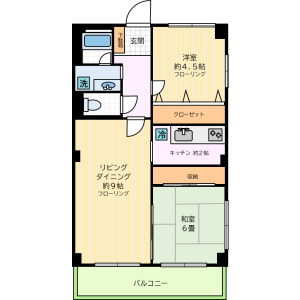 2LDK Mansion in Wakabayashi - Setagaya-ku Floorplan