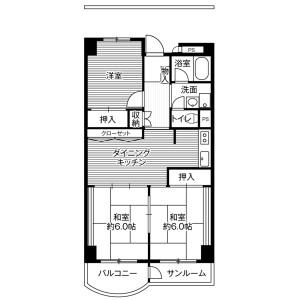 3DK Mansion in Kamiaraya - Kanazawa-shi Floorplan