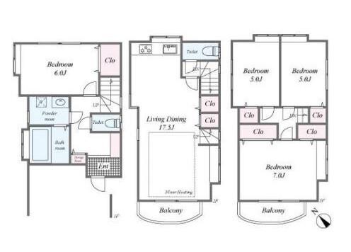 4LDK House to Buy in Minato-ku Floorplan