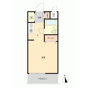 1R {building type} in Rokukakubashi - Yokohama-shi Kanagawa-ku Floorplan