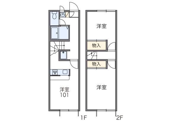 2DK Apartment to Rent in Ogaki-shi Floorplan