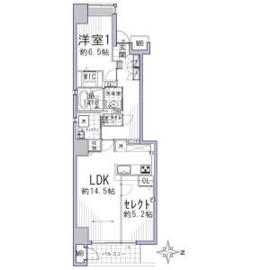 1LDK {building type} in Sumiyoshicho(samegaidoritakatsujisagaru.samegaidorimatsubaraagaru) - Kyoto-shi Shimogyo-ku Floorplan