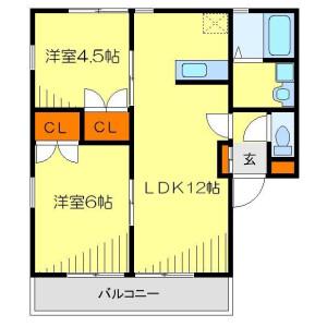 2LDK Apartment in Kishimachi - Kawagoe-shi Floorplan