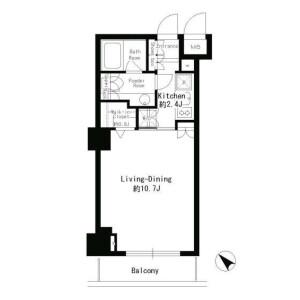 港區赤坂-1K公寓大廈 房間格局