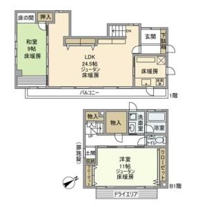 目黒區三田-2LDK獨棟住宅 房間格局