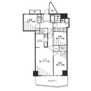 3LDK Mansion in Shibaura(2-4-chome) - Minato-ku Floorplan