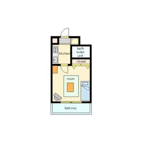 新宿區西新宿-1K公寓大廈 房間格局