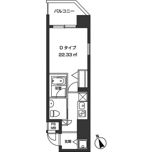 1K Mansion in Nishishimbashi - Minato-ku Floorplan