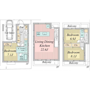 3LDK {building type} in Akatsutsumi - Setagaya-ku Floorplan