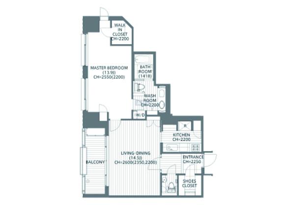 在港区内租赁1LDK 公寓 的 楼层布局
