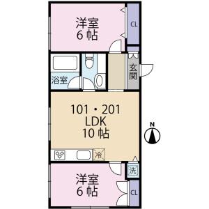 練馬區大泉町-2LDK公寓大廈 房間格局