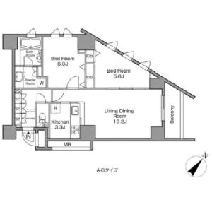 2LDK Mansion in Kamimeguro - Meguro-ku Floorplan