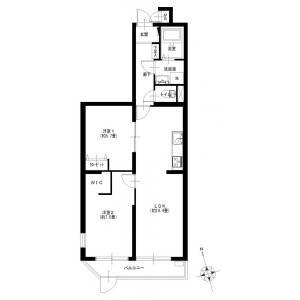 2LDK {building type} in Shimonagaya - Yokohama-shi Konan-ku Floorplan