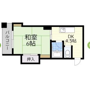 1DK Mansion in Karita - Osaka-shi Sumiyoshi-ku Floorplan