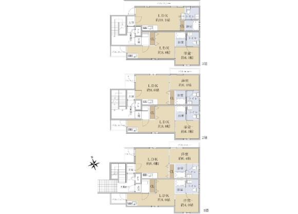 在名古屋市瑞穂区购买整栋 公寓的 楼层布局