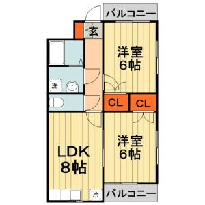 千葉市中央区今井-2LDK公寓 楼层布局
