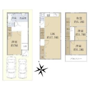 4LDK {building type} in Tsukuda - Osaka-shi Nishiyodogawa-ku Floorplan