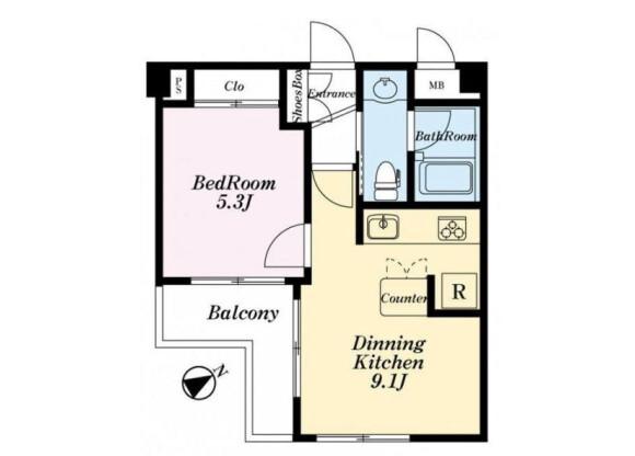 1LDK Apartment to Buy in Meguro-ku Floorplan
