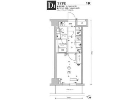 1K Apartment to Rent in Kawasaki-shi Kawasaki-ku Floorplan