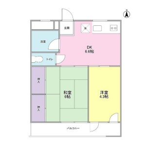 2DK Mansion in Honcho - Higashimurayama-shi Floorplan