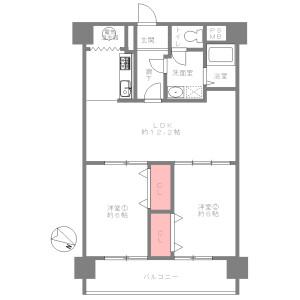 2LDK {building type} in Motomachi - Osaka-shi Naniwa-ku Floorplan