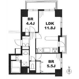 2LDK Apartment in Shiba(1-3-chome) - Minato-ku Floorplan