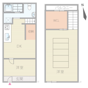 2DK House in Kosei - Osaka-shi Minato-ku Floorplan