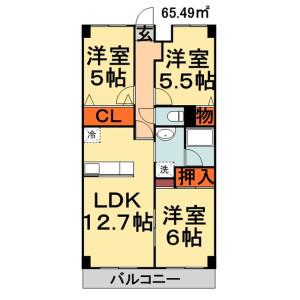 千葉市緑区おゆみ野-3LDK公寓大厦 楼层布局