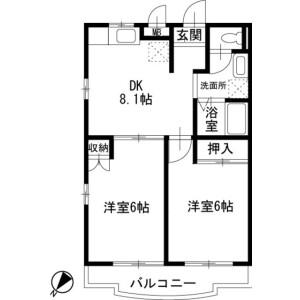 2DK Apartment in Edahigashicho - Yokohama-shi Tsuzuki-ku Floorplan