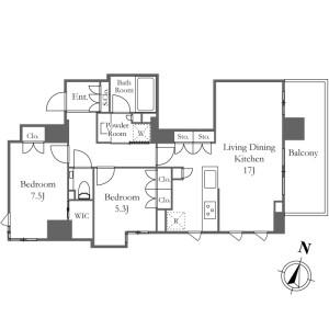 港區西麻布-2LDK公寓大廈 房間格局