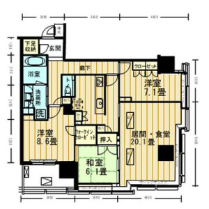 3LDK Mansion in Kandaawajicho - Chiyoda-ku Floorplan