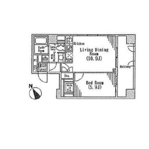 1LDK Mansion in Hatchobori - Chuo-ku Floorplan