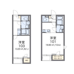 1K Apartment in Kamikoshien - Nishinomiya-shi Floorplan