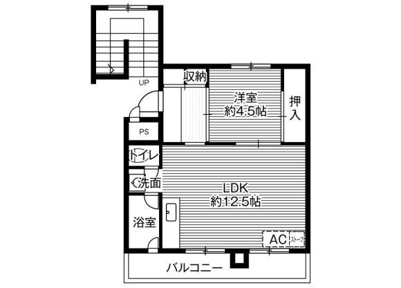 1LDK Apartment to Rent in Sapporo-shi Nishi-ku Floorplan