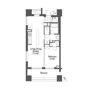 1LDK Apartment in Mita - Minato-ku Floorplan