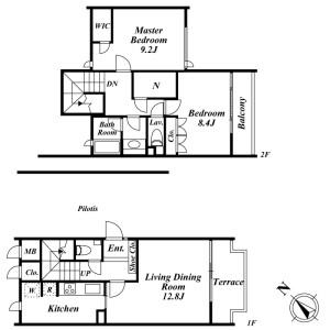 2LDK Mansion in Mukogaoka - Bunkyo-ku Floorplan
