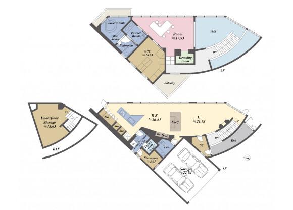 在横浜市金沢区购买1SLDK 独栋住宅的 楼层布局
