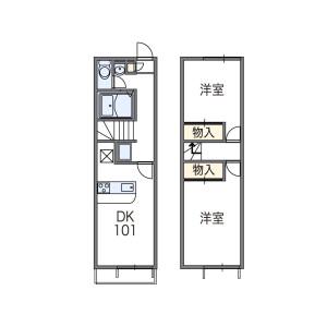 2DK Apartment in Higashibojocho - Kashihara-shi Floorplan