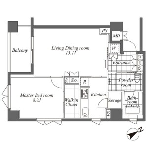 1LDK Apartment in Ebisuminami - Shibuya-ku Floorplan