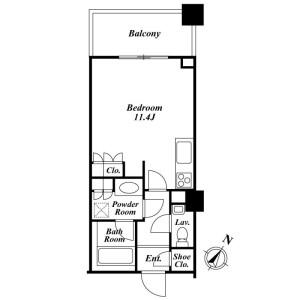 澀谷區猿楽町-1R公寓大廈 房間格局