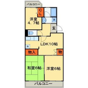 3LDK Mansion in Miyanogidai - Chiba-shi Hanamigawa-ku Floorplan