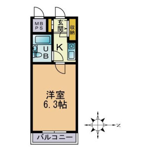 1K Mansion in Shinoharadaimachi - Yokohama-shi Kohoku-ku Floorplan