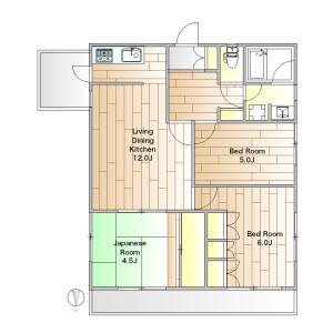 3LDK Apartment in Nozawa - Setagaya-ku Floorplan
