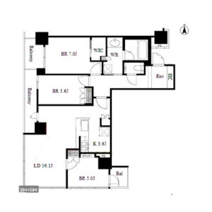 3LDK Apartment in Oyodominami - Osaka-shi Kita-ku Floorplan