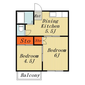 2DK Apartment in Higashinakashinjuku - Kashiwa-shi Floorplan
