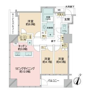 3LDK {building type} in Iwamotocho - Chiyoda-ku Floorplan