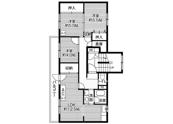 3LDK Apartment to Rent in Kushiro-shi Floorplan