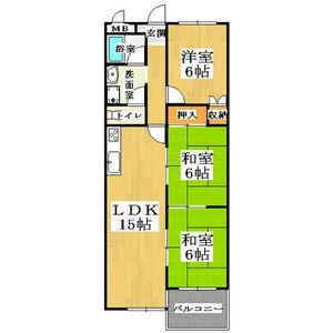 3LDK Apartment in Shichijogoshonochi kitamachi - Kyoto-shi Shimogyo-ku Floorplan